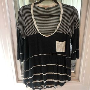 Anthropologie 3/4 length sleeve Striped Top